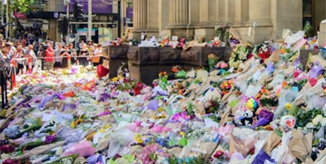 Floral tributes in Bourke Street, Melbourne, in January last year (Melbourne Catholic)