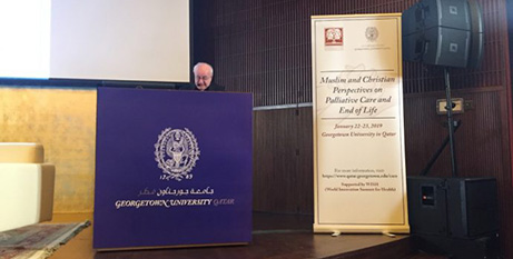 Archbishop Vincenzo Paglia at the conference in Doha, Qatar, yesterday (Crux-Pontifical Academy for Life)