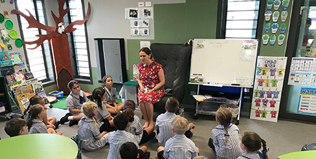 Students settle into their new classroom (Facebook/St Benedicts)