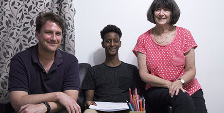 Salim (centre) with tutors Matthew Smith and Gillian Warry (Emilie Ng)