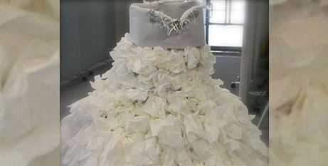 A wedding dress of tears made by school students at a forced marriage workshop (ACRATH)