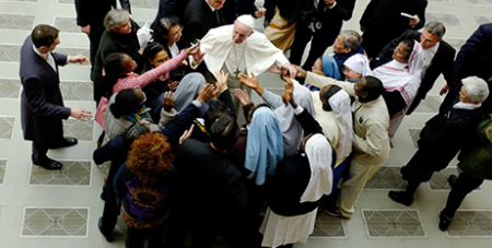 Pope Francis during his general audience in Paul VI hall at the Vatican yesterday (CNS/Philimon Bulawayo, Reuters)