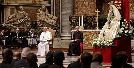 Pope Francis leads the November 2017 prayer service (CNS/Max Rossi)