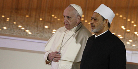 Pope Francis and Sheik Ahmad el-Tayeb, grand imam of Egypt's al-Azhar mosque, in Abu Dhabi on Monday (CNS/Paul Haring)