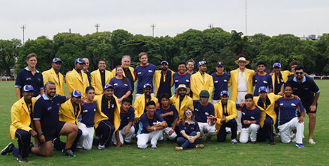 The Vatican Cricket team (yellow jackets) with the Argentinian Cricket Sin Fronteras in Buenos Aires in January (Facebook)