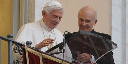 Pope Benedict XVI and Msgr Alfred Xureb (Vatican News)