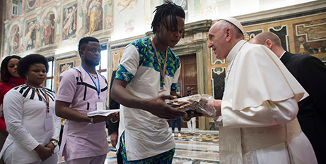Pope Francis meets  survivors of human trafficking (CNS/LOsservatore Romano)