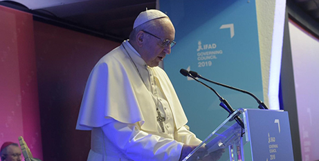 Pope Francis addresses IFAD's governing Council yesterday (Vatican Media)