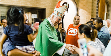 Bishop Peter Ingham after his farewell Mass at Ingleburn (Cyron Joseph Sobrevinas/Captured Frames)