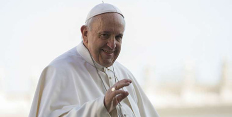 Pope Francis at the general audience yesterday (CNA/Marina Testino)