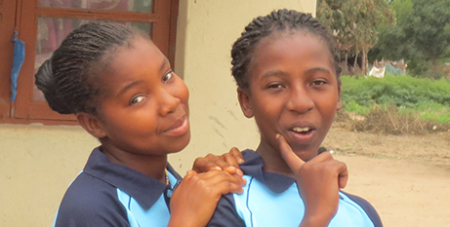 Ditosa (left) and friend at the Matuba Children's Centre (Caritas/Sr Ivy Khoury)