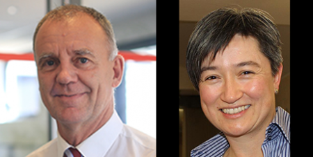Paul O'Callaghan and Penny Wong (Caritas Australia and Fiona Henderson)