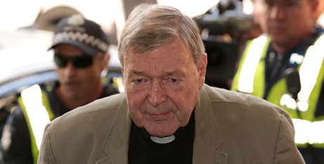Cardinal George Pell outside the Melbourne Magistrates Court, March 5 (CNS/Stefan Postles, Reuters)