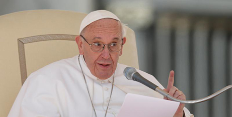 Pope Francis at yesterday's general audience (CNS/Paul Haring)