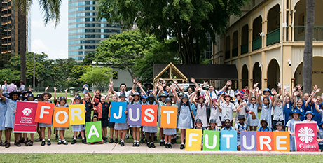 Brisbane students at the 2018 Project Compassion launch in March (Caritas Australia/Lynda Mussell)