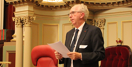 Francis Moore at Victoria's Parliament House yesterday(Melbourne Catholic)