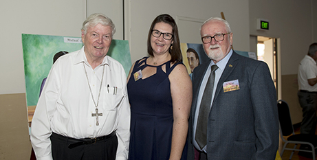Bishop Greg O'Kelly, Lana Turvey-Collins and Fr Noel Connelly (Supplied)
