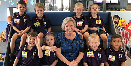 Dr Cathy Day with students from St Benedict's, Shaw (Townsville Catholic Education)