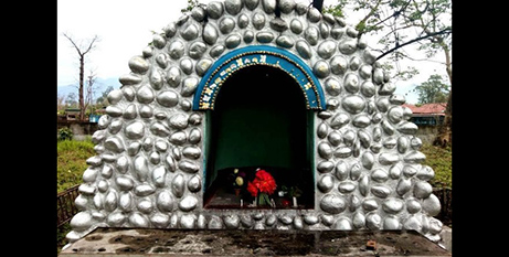 One statue was stolen from this grotto at Tezu Parish Church in Miao Diocese (Crux/Miao Diocese)