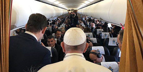 Pope Francis addresses journalists on the papal plane from Morocco to Rome on Sunday (Vatican News/Andrea Tornielli)