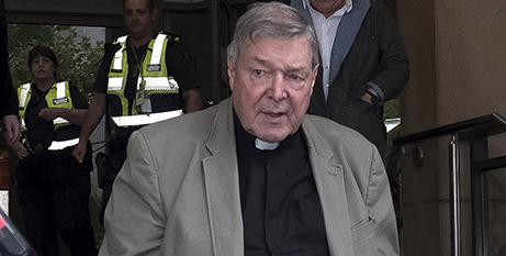 Cardinal George Pell outside court, March 20 (CNS/Luis Ascui/EPA)