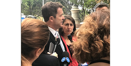 Mark Speakman and Gladys Berejiklian at the announcement yesterday (Twitter)