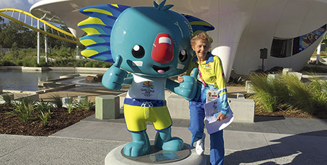 Helen Day with Games mascot Borobi (The Catholic Leader)