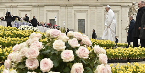 Pope Francis in St Peter's Square yesterday (Vatican Media)