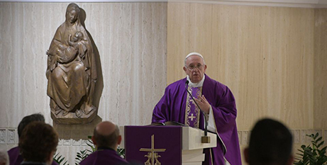 Pope Francis delivers the homily at morning Mass at Domus Sanctae Marthae yesterday (CNS/Vatican Media)