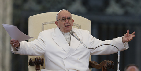 Pope Francis addresses the crowd at the Vatican on Wednesday (CNS/Paul Haring)