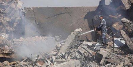 The Scientific Research Centre, Damascus, destroyed by air strikes (CNS/Omar Sanadiki)
