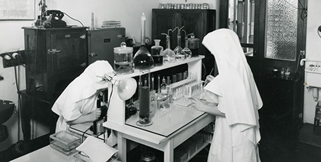 An early pathology lab at St John of God Subiaco Hospital (Supplied)