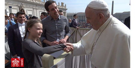 Greta Thunberg meets Pope Francis (YouTube/Vatican Media)