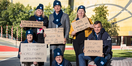 Executives at the CEO Sleepout launch in Canberra yesterday (Twitter/VinniesAust)