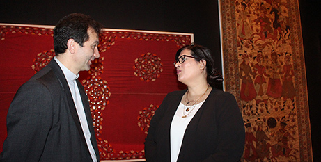 Fr Nicola Mapelli and Manal Ataya at the National Museum of Australia yesterday (ACBC)