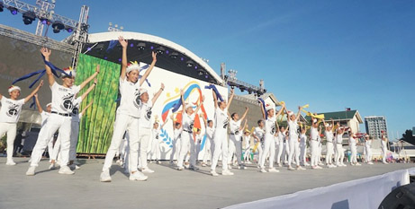 Attendees at the Philippines National Youth Day festival performing a dance routine (UCANews/Elmarc Lim)