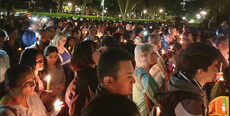 The candlelight vigil outside St Mary's Cathedral in Sydney on Friday (Twitter/SachiniDias2)
