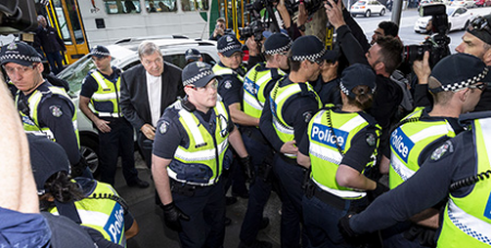 Cardinal George Pell arrives at court on Tuesday (CNS/Daniel Pockett, Reuters)