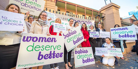 Pro-life supporters outside Parliament House (Abortion Rethink/Giovanni Portelli)