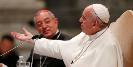 Pope Francis, seated next to Rome Diocese vicar general Cardinal Angelo de Donatis, addresses diocesan leaders last week (CNS/Reuters/Remo Casilli)