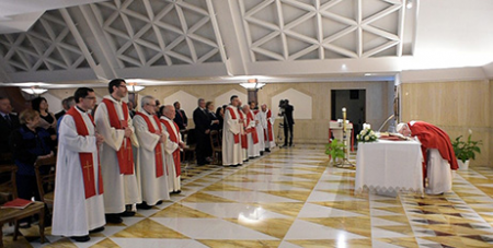 Pope Francis celebrates Mass yesterday at Domus Sanctae Marthae (Vatican Media)