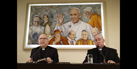 Bishop Fernando Ramos Perez and Bishop Juan Ignacio Gonzalez Errazuriz at Monday