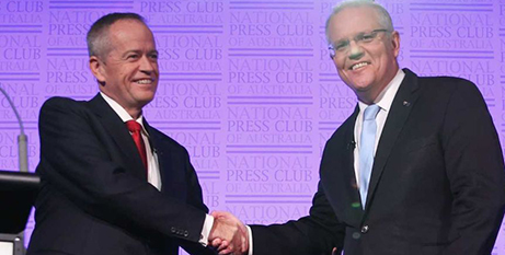 Bill Shorten, left, and Scott Morrison at the National Press Club last week (ABC News)