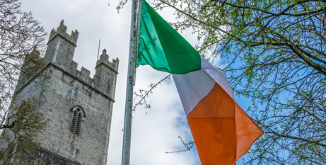 The Irish flag flies outside Old St Mary Cathedral, Limerick (Bigstock)
