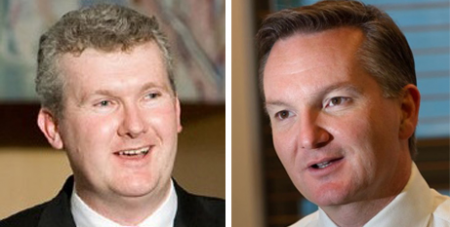 Tony Burke (left) and Chris Bowen retained their seats but suffered swings against them (Wikimedia/Adam Carr and Brettcrealy)