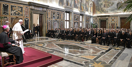 Pope Francis addresses members of Italy's Foreign Press Association at the weekend (Vatican Media)