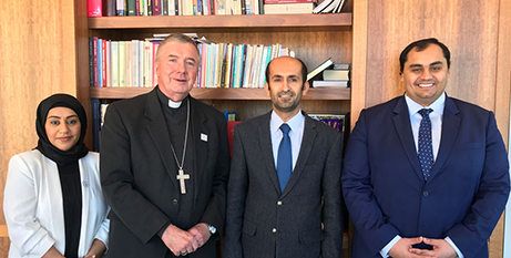 From left: Asma Alyammahi, Archbishop Christopher Prowse, Matar Almansoori and Magid Alnekhailawi (CatholicVoice/Chris Gordon)