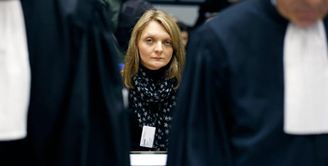 Rachel Lambert waits for the start of a hearing about her husband at the European Court of Human Rights in Strasbourg, France, in 2015 (CNS/Reuters)