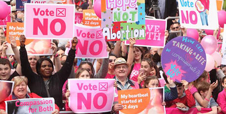 Anti-abortion protesters in Dublin on May 12 (CNS/John McElroy)