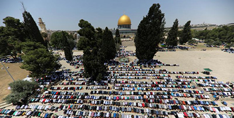 Palestinians pray at the Noble Sanctuary in Jerusalem, May 18 (CNS/Ammar Awad, Reuters)
